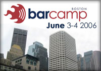 Logo for BarCampBoston showing some Boston buildings